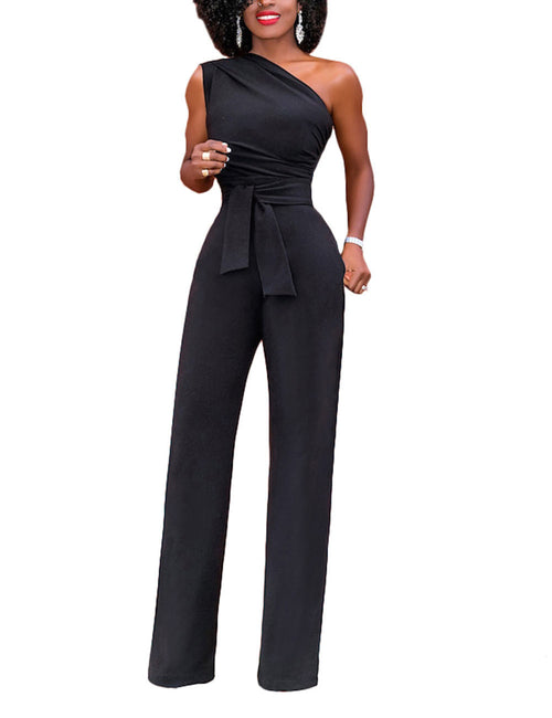 Post Surgery One Shoulder Wide Leg Jumpsuits Floor Length For Playing