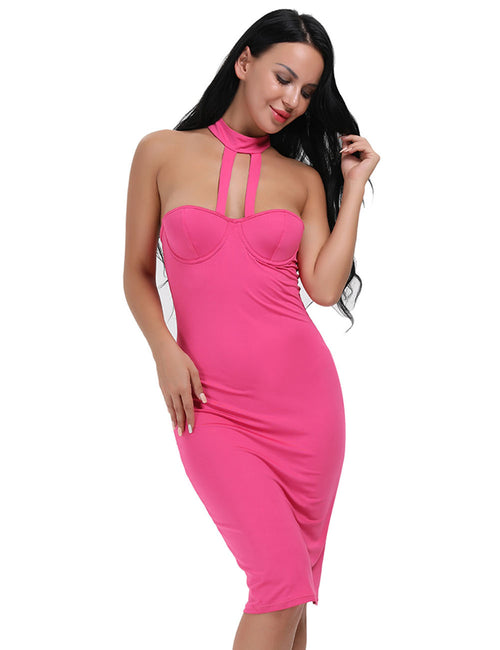 Pretty Choker Halter Push Up T Back Dress Gentle Fabric