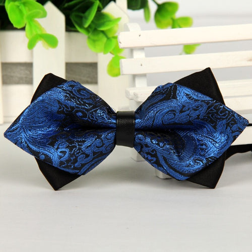 Blue Jacquard Silk Bowties