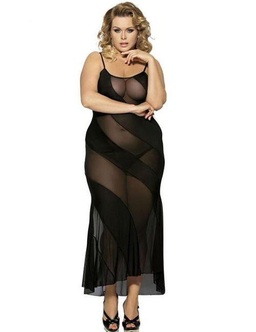 Black See-through Plus Size Lingerie Babydoll