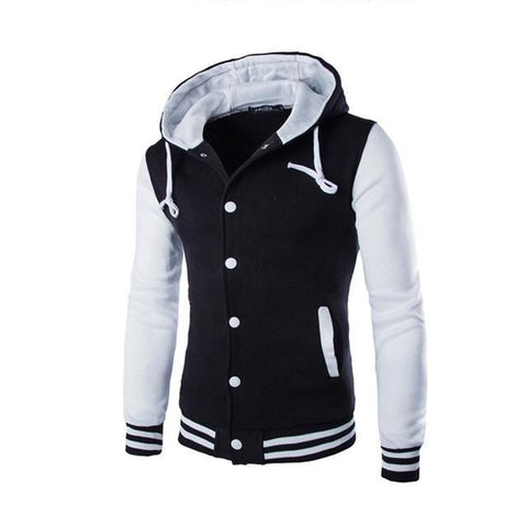 Fashion Men Coat With Hat Button Up Stripe