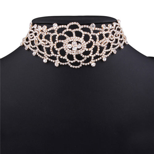 Sexy Luxury Hollow Rhinestone Crystal Choker Necklace