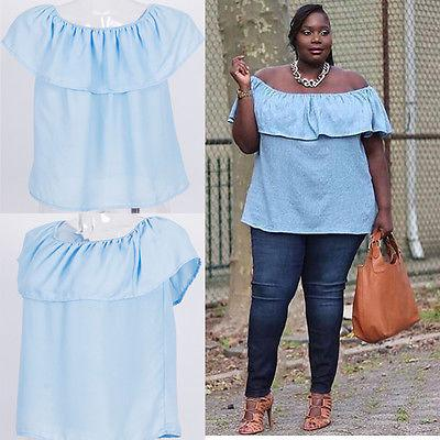 Blouse - Off Shoulder Ruffles Loose Short Sleeve Casual Blouse