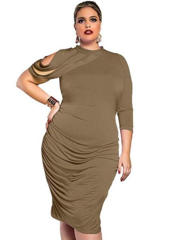 Plus Size One-Shoulder Slim Dress