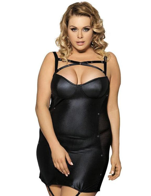 Leather Sectional Transparent Conjoined Dress