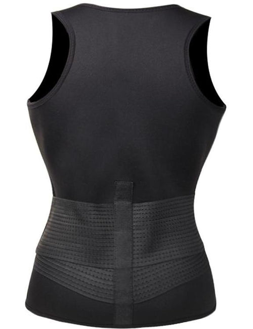 Waist Control Black Large Size Neoprene Vest Front Zip Tight Fit