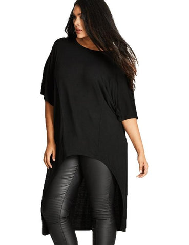 Mid Sleeve O-Neck Irregular Basic T-Shirt