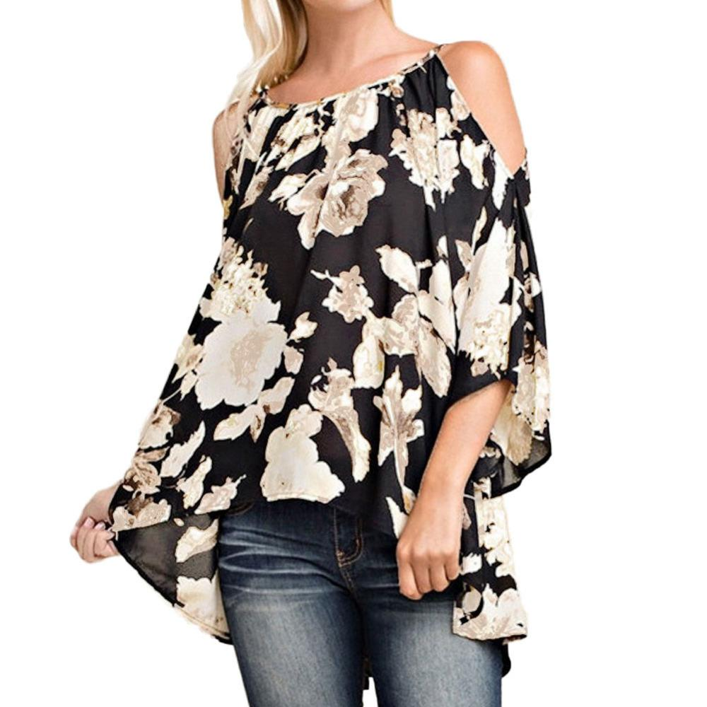 Blouse - Plus Size Off Shoulder Floral Print Blouses