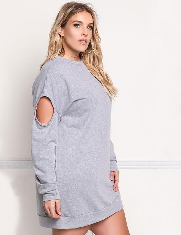 Casual Long Sleeve O-neck Knitting Hollow Out Dress
