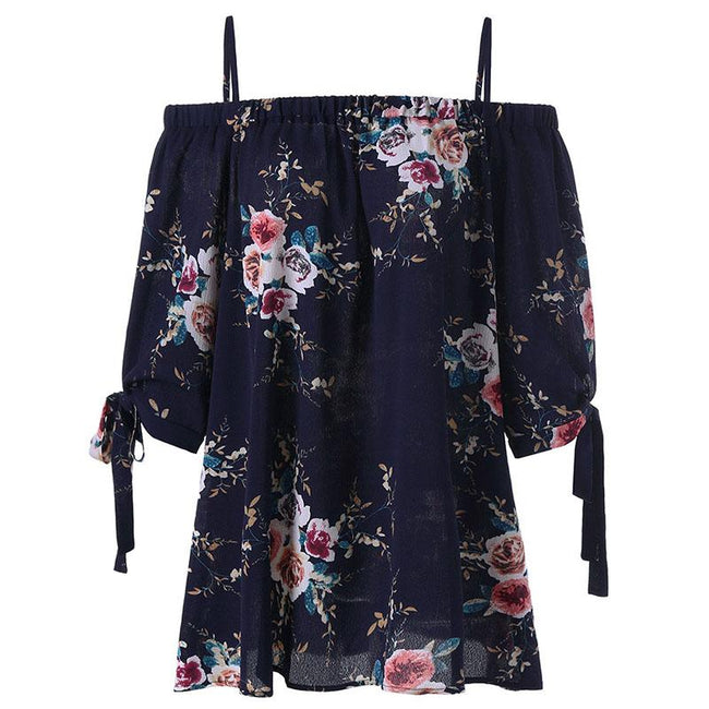 Blouse - Plus Size Off the Shoulder Floral Print Chiffon Blouse
