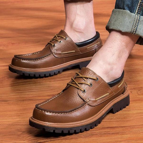 Casual Handmade Men Leather Shoes Lace-Up Anti-Slip
