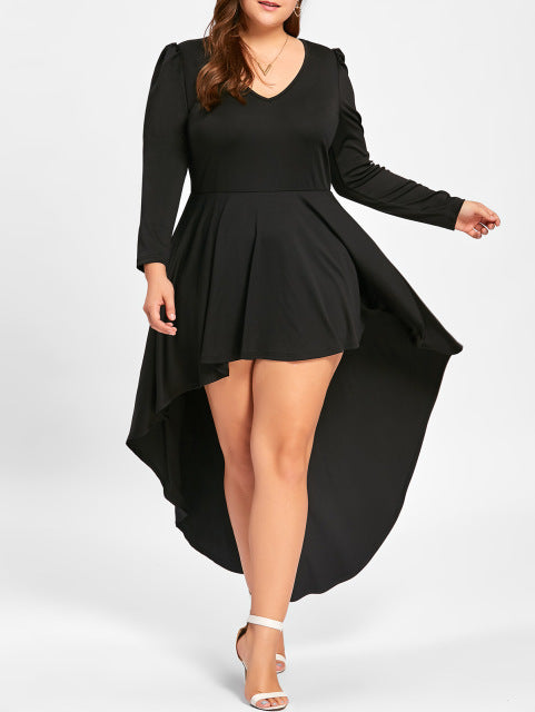Plus Size XL-5XL High Low Hem Dress Long Sleeve Maxi V Neck Dress