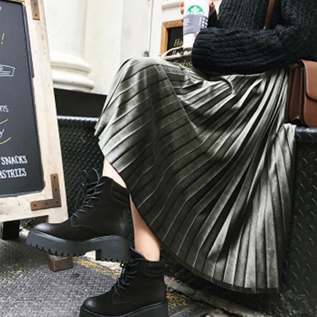 Winter High Waist Velvet Pleated Skirt