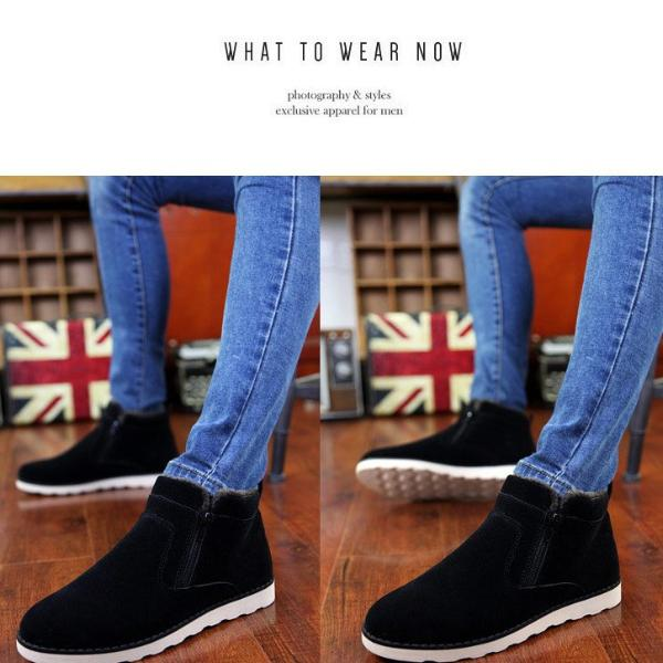 Casual Men Ankle Boots Zipper Round Toe Solid Color