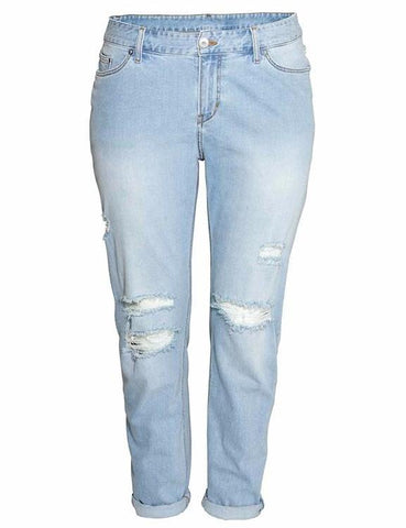 Plus Size Solid Broken Hole Button Long Jeans