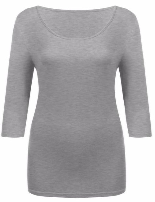 Round Collar 3/4 Sleeve Solid Slim Fit Pullover