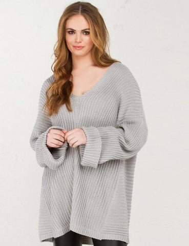 Solid V-Neck Loose Knitted Sweater