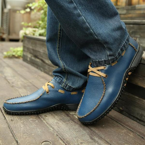 Fashion Breathable Men Leather Shoes Lace-Up Round Toe