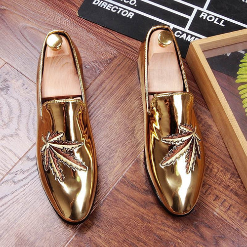 Fashion Men Embroidered Boat Shoes Patent Leather Slip On Loafer