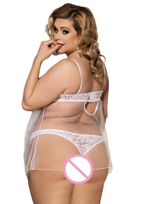 White Lace Transparent Plus Size Babydoll