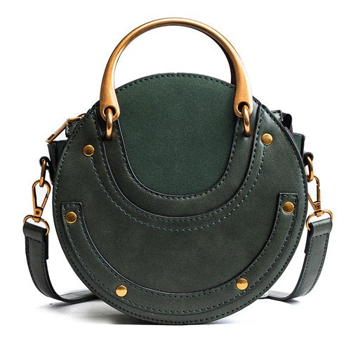 Fashion Women Circular Bag Ring Rivet Zipper Closure