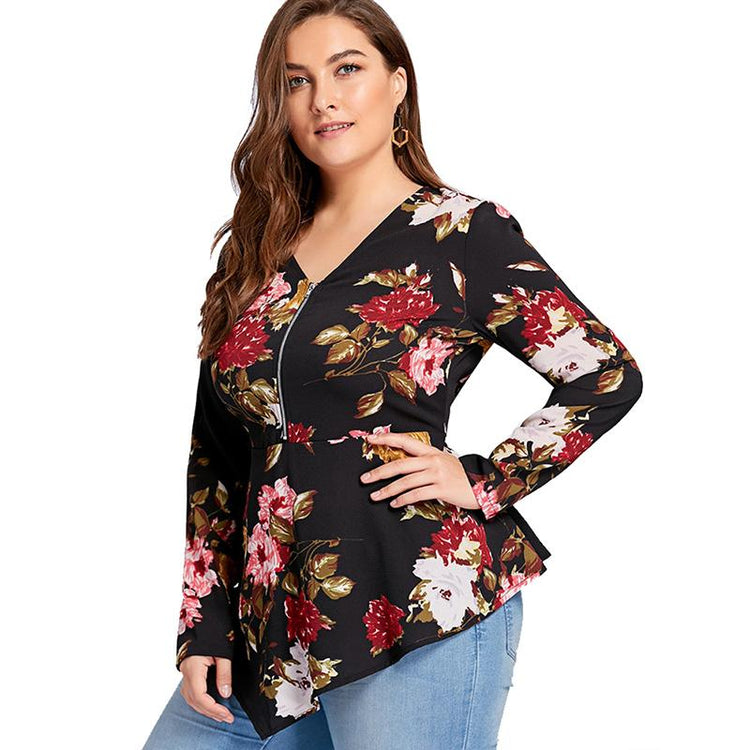 Blouse - Plus Size Zipper Floral Print Asymmetrical Blouse