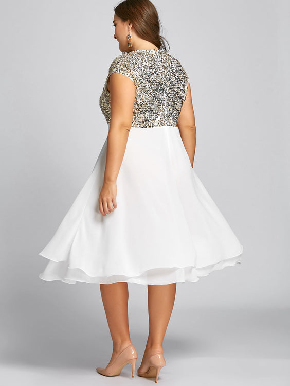86aa7b50610c86 Women Flounce Plus Size Cocktail Short Sleeves Sequin Sparkly Dress ...