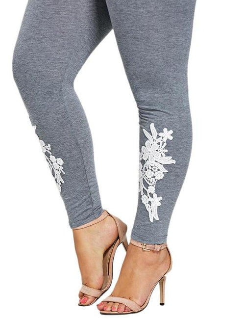 Appliqued Floral Printing Stretch Mid Waist Skinny Leggings