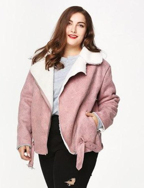 Plus Size Warm Lambswool Coat