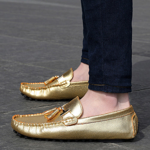 Gold Gilver Driving Shoes Tassel Loafers Flats Genuine Leather