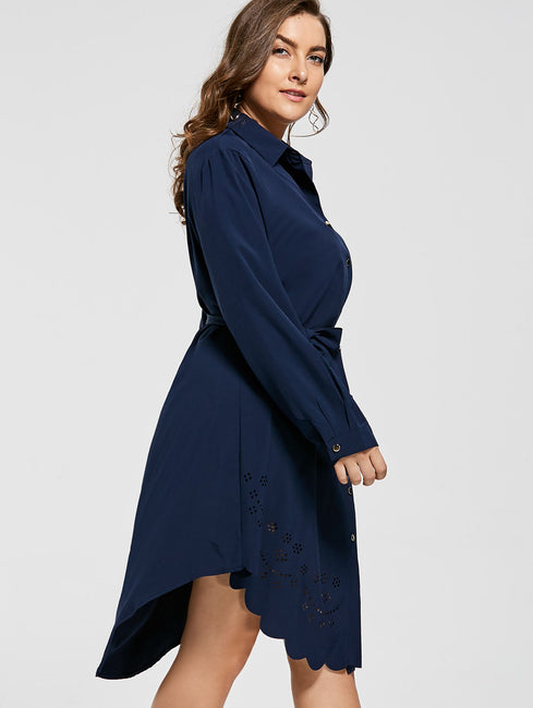 Plus Size Openwork Scalloped Long Sleeve Ladies Dress