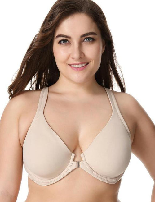 Plus Size Comfort Front Closure Racerback Underwire Support Bra