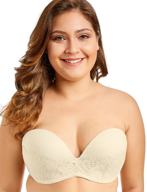 Llightly Lined Great Support Lace Underwired Strapless Bra