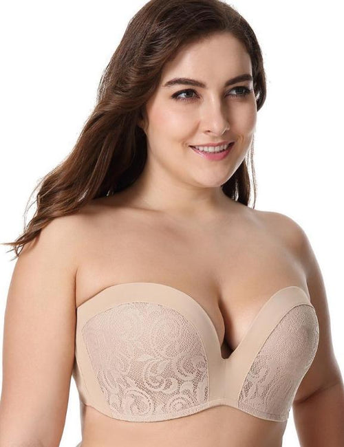 Lightly Padded Push Up Great Support Lace Strapless Bra