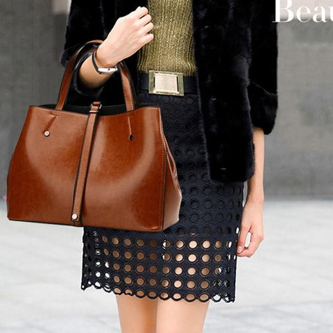 Luxury Women Leather Handbag Zipper Closure