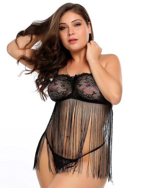 c64f3031237 Plus Size Sexy Porno Baby Doll Lingerie Erotic Hot Sex Costume Tassel  Nightwear Dress Lace Porn Exotic Underwear