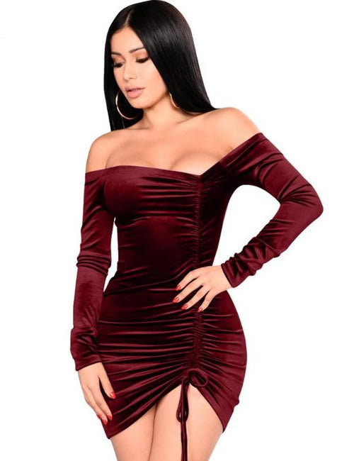 Velvet Plus Size Asymmetrical Ruching Off Shoulder Dress