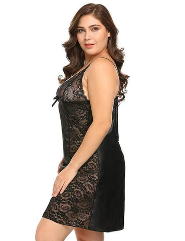 Plus Size Women Sexy Lingerie Sleepwear Dress XL-5XL Lace Backless Babydoll Chemise Sleepshirt Nightgown