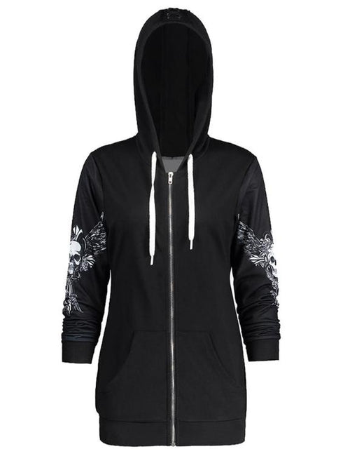 Skull Wings Print Halloween Zip Up Hoodie