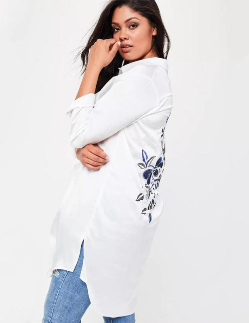 Plus Size Solid White Floral Embroidered Long Sleeve  Tops