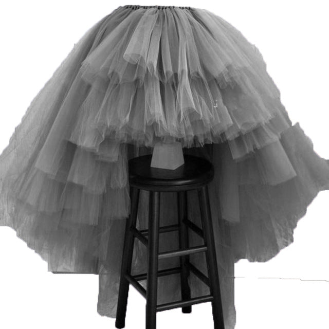 High Low Tiered Puffy Tulle Skirt