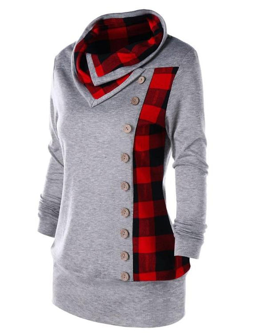 Sudaderas Plaid Cowl Neck Single Breasted Button Embellished Hoodies
