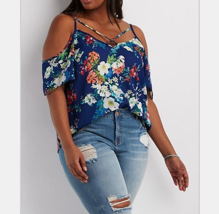 Blouse - Off Shoulder Strapless Shirts Sexy Floral Print Loose Shirt