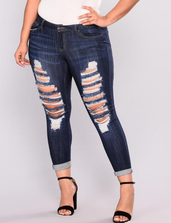 Holes Destroyed Knee Stretch Ripped Pencil Jeans