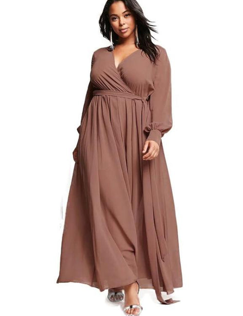 Surplice Wrapped Long Sleeve V Neck Dress