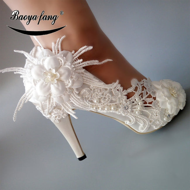 White Lace flower  High heels Pumps Womens wedding shoes Peep Toe fashion shoes