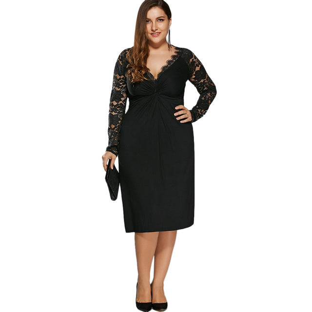 Plus Size Black Holiday Formal Party Bodycon Dress Twist Front Lace Sleeves