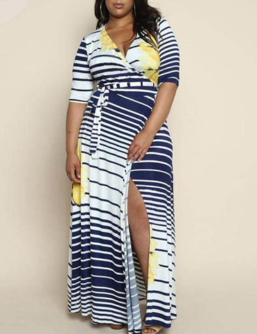Half Sleeve Boho Striped Dress