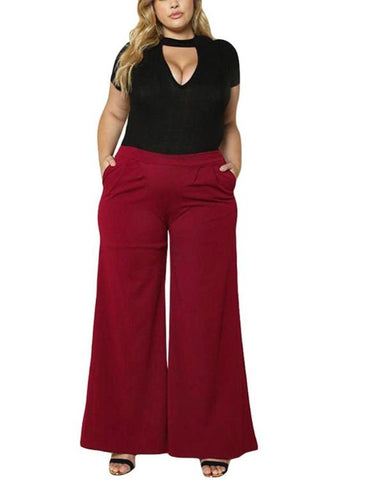 Fashion Wide Leg Pockets High Waist Sweatpants