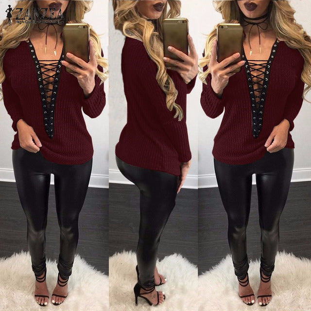 Autumn Knitted Thin Sweater Lace Up V Neck Knitwear Plus Size